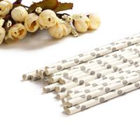bâtons de papier blanc achat en gros de-Gros-Blanc Couleur Malachite Point Gris Papier Bâton Straw Sticks Pour Christmas Wedding Party Celebration Décorations Vaisselle