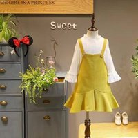 Wholesale Under Clothing Children - Fashion New Children Clothes Girls Outfits sweet lace under shirt + suspender skirt 2pcs sets kids boutique clothing baby Dress Suits A927