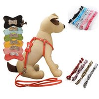 Wholesale Plain Dog Harness - Cheap Fashion Soft PU Pet Round Training Leash Leopard Print Small Middle Plain PU Dog Harness With Diamond Bone 9 Color Mix Order 20PCS LOT