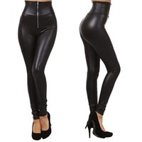 Wholesale Wholesale Black Faux Leather Leggings - Wholesale- Fashion Sexy Women High Waist Black Stretchy Faux Leather Pants Leggings DM#6
