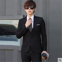 Wholesale Korean Marry Dress - Wholesale- MEBOSYA 2016 Korean men casual suit British occupation Slim small suit three sets formal dress married singer costumes