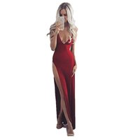 Wholesale Hot Sexy Dresse - 2017 Hot Sexy Evening Dresse Deep V-Neck Split-Front Red Floor Length Stretch Satin Party Gowns Sheath Column Dresses