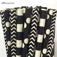 Wholesale Cake Pops Wholesale Supplies - Wholesale- 25 x Black Paper Straws Chevron Polka Dot Stripe Party Straws Black and White Drinking Straws Cake Pop Sticks Supplies