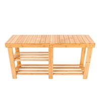 Wholesale natural bamboo flooring - Portable Boot Style Shoes Stool with Storage Wood Color Natural Bamboo Shoe Rack