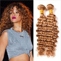 Wholesale Honey Strawberry Blonde - Honey Blonde Hair #27 Deep Wave Bundles 3Pcs Lot Curly Hair Weft #27 Strawberry Blonde Human Hair Weave Extensions Deep Curly Weave