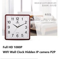 Wholesale Wireless Spy Clocks - 1080P WIFI P2P Wall Clock IP camera Video recorder Motion Detection Wireless Surveillance Nanny Camera Home Office Security Spy Camera
