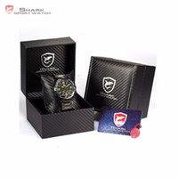 Wholesale Shark Led Digital Sport - Wholesale- Luxury Leather Box Bull SHARK Full Steel Watch Men Male Clock Montre Homme Relogio Digital Sport Waterproof LED Watches  SH007-9