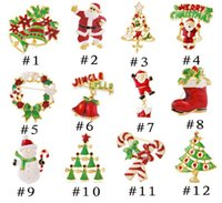 Wholesale Green Rhinestone Wreath Brooch - 12 styles Christmas brooches with Santa Claus boots bell cane wreath snowman tree multi color crystal brooch pins accessories Hot sale