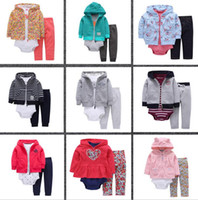 Wholesale Leopard Print Baby Jackets - baby three-piece suit printing 2017 spring and autumn child cardigan HOODED JACKET + pants long sleeved short sleeved Jumpsuit romper suit