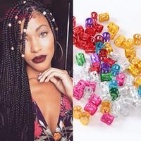 punhos de cabelo de metal venda por atacado-Atacado-Free Shipping Cabelo Beads tranças 100 Pçs / lote 5 Cores Dreadlock Beads Manguito Ajustável Micro Anéis 8.5 MM Buraco De Metal Tubo de Bloqueio