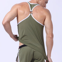 Wholesale Tank Top Slim Fit Men - Hot sale Mesh Quick dry Mens Tank top slim fit with Metal ring Back High quality For male army green black red white yellow