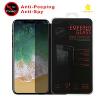 Wholesale Glass Lcd - For Iphone 8 Plus iPhone X Privacy Tempered Glass Screen Protector LCD Anti-Spy Film Screen Guard Cover Shield with Retail Package