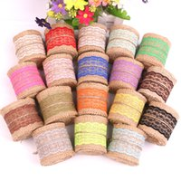 Wholesale Red Burlap Ribbon - 6cm Width Natural Burlap with Colorful Lace Ribbon Jute Roll DIY Wedding Decoration Craft gift Wrapping + DHL Free Shipping