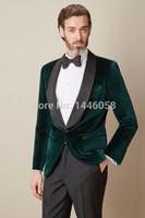 Wholesale Loose Velvet Dress - Wholesale- 2017 Mens Velvet Blazers Custom Made Dark Green Formal Dress Wedding Prom Tuxedos Groom Suit Groomsmen Mens Wedding Suits