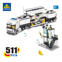 Wholesale Kazi Toys - 2017 new KAZI 6727 Police Command Vehicle Building Blocks SWAT Truck 511 Pcs Bricks Educational Toys For Children Birthday Gift