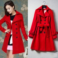 Wholesale Thick Sash Belt - New Women's Clothing Casual Fashion Red Jacket Double Breasted Cashmere Wool Coat For Ladies Trench Coat With Belt Long Outwear Long Coat