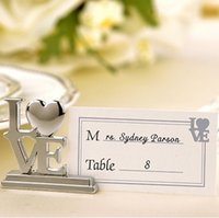 Wholesale Gift Cards Pictures - Banquet Seat Clip Creative Love Shape Alloy Card Note Picture Holder Table Decor Couple Supplies Wedding Gift 2 8yk F R