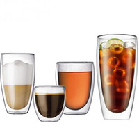 Wholesale Double Wall Glass Cup Milk - Free shipping Double wall glass Drinkware double-deck glass cup office beverage milk coffee beer heat resistant cups
