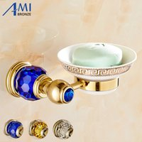 Wholesale network crystal - Golden Polished Brass Crystal Soap Dish Holder Soap Network Bathroom Accessories Dishesdisk Toilet Vanity