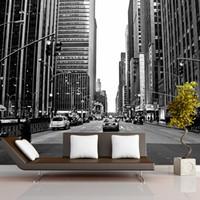 neue hintergrundtapeten großhandel-Wandbild 3D New York City Nacht Szene große Wandbilder Mittelmeer TV Hintergrund Sofa Schlafzimmer Hintergrund Wandbild Tapete