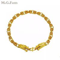ingrosso braccialetti 24k oro china-MGFam (21cm * 5mm) Dragon Bracelet Jewelry Men Cina Ancient Mascot Disegni originali 24k Pure Gold Plated Allergy Free