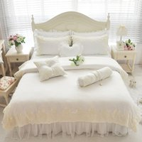 Wholesale korean duvet covers - Wholesale- 4pcs full queen king size Korean modal princess pattern bedding lace wedding bed skirt without filler free shipping