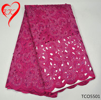 Wholesale Double Organza Fabric - KK Lace Fabric double organza and stones lace party dress african lace high quality TCO55