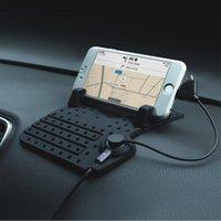 connecteur usb de chargeur mobile achat en gros de-Vente en gros-téléphone portable voiture titulaire avec chargeur par câble USB pour iPhone Support réglable connecteur magnétique supports câble pour Samsung