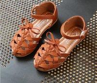полые туфли оптовых-Девушки выдалбливают сандалии дети полые ткать звезда сандалии девушки лук пряжки обувь дети искусственная кожа обувь дети пляж принцесса обувь