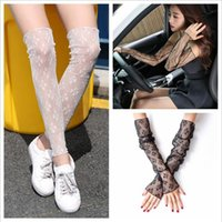 Wholesale Women Handkerchief Wholesale - Lace Leg Warmers Summer Sun Proof Stockings Uv Protection Raglan Sleeves Fashion Sexy Long Socks Thin Hosiery Sunscreen Handkerchiefs YYA685