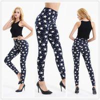 Wholesale Star Sexy Legging Pants - Wholesale- 2017 women Push Stretch leggings blue star skinny legging Ladies Fitness printed Pants sexy slim Punk pants for party club