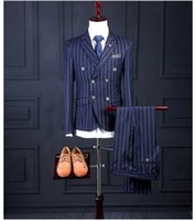 Wholesale Mens Grey Pinstripe Suit - Wholesale Grey Two Buttons Damier Check Mens Suits Bridegroom Tuxedos Male Business Suits Host Show Suits Prom Best Men Tuxedos 3 PiecesWhol