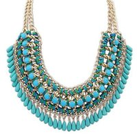 Wholesale Statement Necklaces Multi Layers - Collar Necklaces for Women Maxi Bohemian Necklaces Pendants Tassel Vintage Multi Layer Bib Collar Chain Fashion Jewelry Statement Necklaces