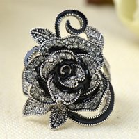 Wholesale Gothic Rings For Women - Fashion New Gothic Style Vintage Jewelry Black Rose Flower Cute Female Ring with Rhinestones For Woman Jewelry Gift