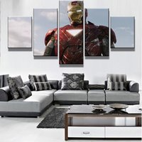 Wholesale Handsome Men Pictures - 5 Pcs Set Framed Printed The Avengers Handsome Iron Man Modern Home Wall Decor Canvas Picture Art HD Print Painting On Canvas Artworks