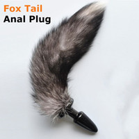 Wholesale Cat Tails Plug - Fetish Black Silicone Animal Cat Fox tail with Anal butt plug dildo Sex toys for women men gay masturbator Adult game costume 17308
