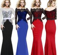 Wholesale Casual Dress Tail - Lace Stitching Long Sleeve Dress Skirt Slim Fish Tail Dress