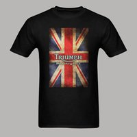 Wholesale England Flag Prints - Triumph Motorcycle Biker England Flag Classic Logo Graphic T Shirt Harajuku Style Short Sleeve Cool T-shirt