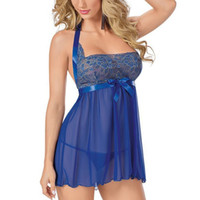 yelek giymek toptan satış-Moda Yaz Lady Kadınlar Mavi Yay İç Babydoll Pijama Elbise G-string Gecelikler Lingerie Artı Boyutu M-2XL