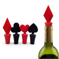Wholesale Poker Shapes - Poker Shaped Silicone Vacuum Sealed Wine Bottle Stopper Kitchen Wine Champagne Stopper Bar Tools CCA7169 1200pcs