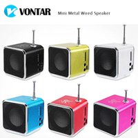 Wholesale Digital Stereo Receivers - Vontar Mini Speaker Micro SD USB Music Player Digital FM Radio Stereo Bass Antenna Receiver For phone Laptop MP3 MP4