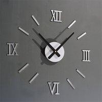 Wholesale Aa Wholesale Clocks - Wholesale- 2016 Small silver gold mirrow wall clock DIY home decor quartz AA battery clock sicker sticking style drop shipping on sale