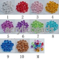100 PCS cores sortidas Sparking Transparente 14MM Clear Color Acrylic Ice Rocks Decoração de mesa Gems Scatter Vase Filler Beads