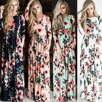 Wholesale White Maxi Sundress - Womens Floral Long Maxi Dress Long Sleeve Evening Party Summer Beach Sundress