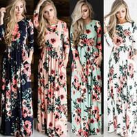 Wholesale Evening Print Long Dresses - Womens Floral Long Maxi Dress Long Sleeve Evening Party Summer Beach Sundress