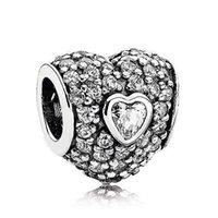 Wholesale Triple Bangle Charm Bracelet - Authentic 925 Sterling Silver Bead Charm Pave Triple Love Heart With Full Crystal Beads Fit Women Pandora Bracelet Bangle DIY Jewelry HK3109