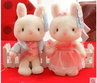Wholesale Stuff Wedding Couple - Wholesale- Super Quality 2pcs lot 25cm Blue and White Bunny Baby Doll Couple Rabbit Plush Toys Stuffed Animal Dolls Wedding Doll&Gift