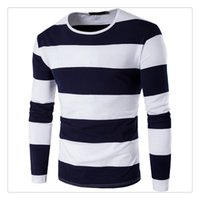 Wholesale Green Stripe Long Sleeve Shirt - T-shirts for Men Fashion Hit Color Wide Stripe Men's Sports O-neck Long Sleeves Spring&autumn Breathable T-shirts US Size:XS-3XL