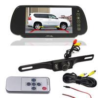 "Wholesale Mirror License Plates - Car Rear View Kit 7"" Car LCD Monitor Mirror +7 IR LED Night Version License plate Reverse Backup Parking Camera"