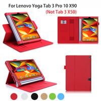 lenovo için vaka örtüsü toptan satış-Lenovo Yoga Tab 3 Pro Için toptan-Lüks Deri Kılıf 10 X90 YT3-X90F / X90L / X90M Kılıf Kapak iş Tablet Funda El Tutucu Kabuk
